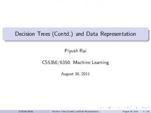 Decision Trees (Contd.) and Data Representation