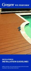 Deck & Porch Installation GuIDelines