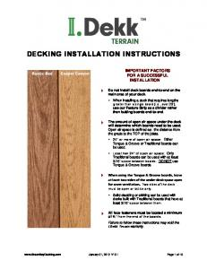 DECKING INSTALLATION INSTRUCTIONS