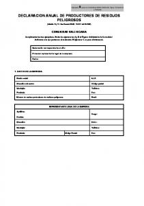 DECLARACION ANUAL DE PRODUCTORES DE RESIDUOS PELIGROSOS