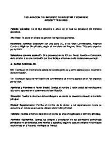 DECLARACION DEL IMPUESTO DE INDUSTRIA Y COMERCIO AVISOS Y TABLEROS