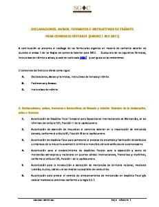 DECLARACIONES, AVISOS, FORMATOS E INSTRUCTIVOS DE TRÁMITE PARA COMERCIO EXTERIOR (ANEXO 1 RCE 2011)