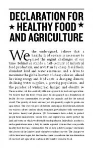 Declaration for and Agriculture