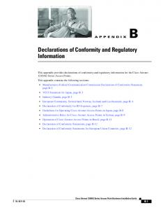 Declarations of Conformity and Regulatory Information