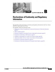 Declarations of Conformity and Regulatory Information