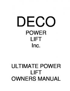 DECO. POWER LIFT Inc. ULTIMATE POWER LIFT OWNERS MANUAL