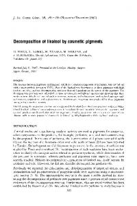Decomposition of linalool by cosmetic pigments