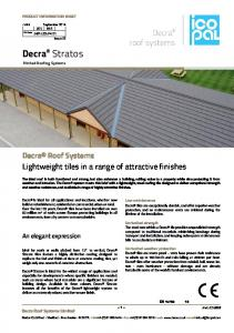 Decra Stratos Pitched Roofing Systems