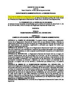 DECRETO 1010 DE 2000 (junio 6) Diario Oficial No , del 06 de junio de 2000