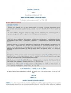 DECRETO 1160 DE (junio 2) Diario Oficial del 6 de junio de 1989 MINISTERIO DE TRABAJO Y SEGURIDAD SOCIAL