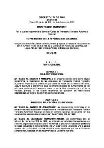 DECRETO 174 DE 2001 (febrero 5) Diario Oficial No , de 5 de febrero de 2001