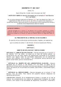 DECRETO 77 DE (enero 13) Diario Oficial No , del 23 de enero de 1997