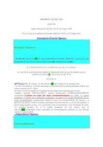 DECRETO 772 DE (Abril 30) Diario Oficial No , de 27 de mayo Por el cual se modifica el Decreto 2820 de 1974 y el Código Civil