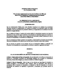 DECRETO EJECUTIVO No 22 (De 19 de junio de 1998)