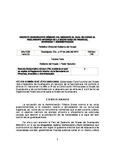 DECRETO GUBERNATIVO NÚMERO 216, MEDIANTE EL CUAL SE EXPIDE EL REGLAMENTO INTERIOR DE LA SECRETARÍA DE FINANZAS, INVERSIÓN Y ADMINISTRACIÓN