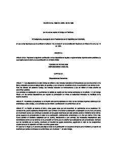 DECRETO No DE ABRIL 20 DE por el cual se expide el Código de Petróleos