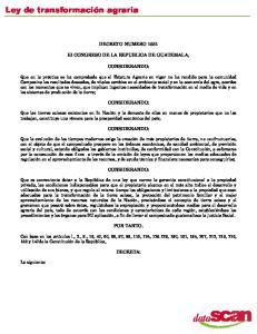 DECRETO NUMERO El CONGRESO DE LA REPUBLICA DE GUATEMALA, CONSIDERANDO: CONSIDERANDO: CONSIDERANDO: CONSIDERANDO: POR TANTO