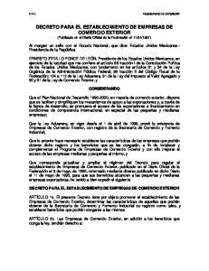 DECRETO PARA EL ESTABLECIMIENTO DE EMPRESAS DE COMERCIO EXTERIOR
