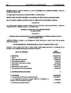 DECRETO POR EL QUE SE EXPIDE LA LEY DE INGRESOS DEL DISTRITO FEDERAL PARA EL EJERCICIO FISCAL 2013