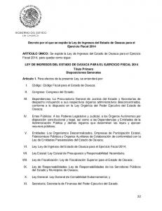 Decreto por el que se expide la Ley de Ingresos del Estado de Oaxaca para el Ejercicio Fiscal 2014