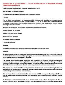 DECRETO POR EL QUE SE EXPIDE LA LEY DE NACIONALIDAD Y SE REFORMAN DIVERSOS ORDENAMIENTOS LEGALES