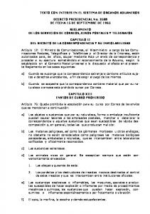 DECRETO PRESIDENCIAL No DE FECHA 15 DE SEPTIEMBRE DE 1965 REGLAMENTO DE LOS SERVICIOS DE CORREOS, GIROS POSTALES Y TELEGRAFOS