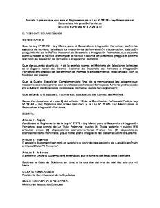 Decreto Supremo que aprueba el Reglamento de la Ley N Ley Marco para el DECRETO SUPREMO N RE