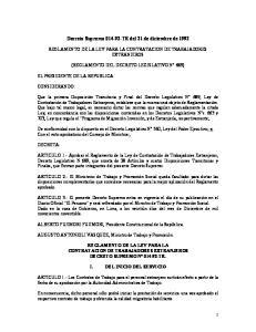 Decreto Supremo TR del 21 de diciembre de 1992