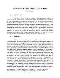 DEED IN LIEU OF FORECLOSURE TRANSACTIONS