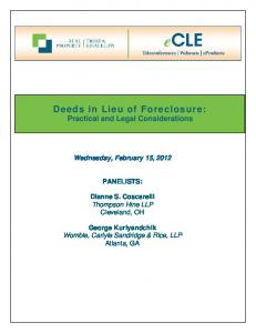 Deeds in Lieu of Foreclosure: Practical and Legal Considerations