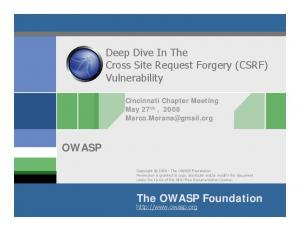Deep Dive In The Cross Site Request Forgery (CSRF) Vulnerability OWASP. The OWASP Foundation