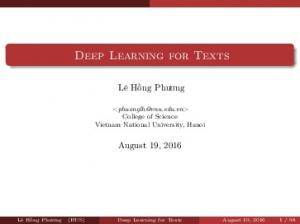 Deep Learning for Texts