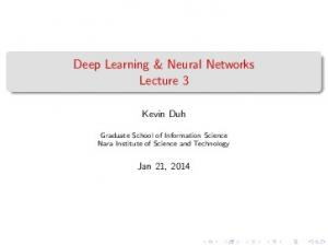 Deep Learning & Neural Networks Lecture 3