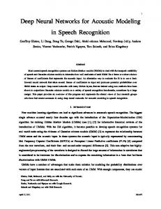 Deep Neural Networks for Acoustic Modeling in Speech Recognition