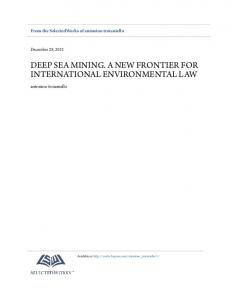 DEEP SEA MINING. A NEW FRONTIER FOR INTERNATIONAL ENVIRONMENTAL LAW