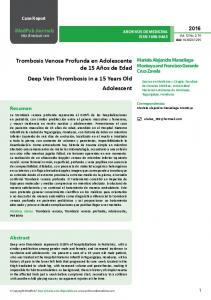 Deep Vein Thrombosis in a 15 Years Old Adolescent