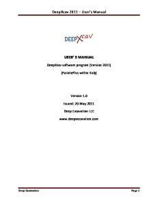 DeepXcav 2011 User s Manual USER S MANUAL