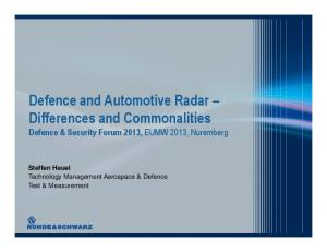 Defence and Automotive Radar