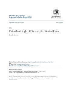 Defendant's Right of Discovery in Criminal Cases