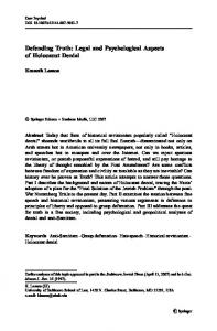 Defending Truth: Legal and Psychological Aspects of Holocaust Denial