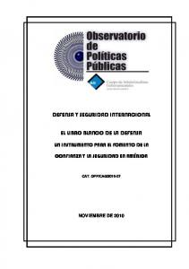 DEFENSA Y SEGURIDAD INTERNACIONAL EL LIBRO BLANCO DE LA DEFENSA