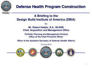 Defense Health Program Construction