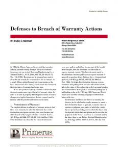Defenses to Breach of Warranty Actions
