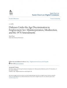 Defenses Under the Age Discrimination in Employment Act: Misinterpretation, Misdirection, and the 1978 Amendments