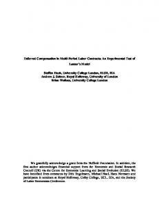 Deferred Compensation in Multi-Period Labor Contracts: An Experimental Test of Lazear s Model