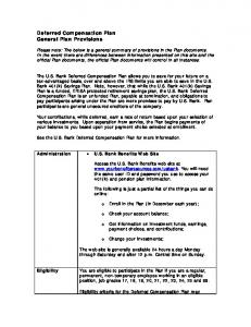Deferred Compensation Plan General Plan Provisions