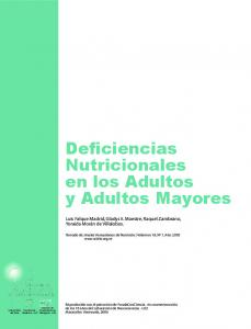 Deficiencias Nutricionales en los Adultos y Adultos Mayores
