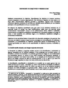 DEFINICION DE OBJETIVOS Y PRIORIDADES