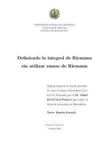 Definiendo la integral de Riemann sin utilizar sumas de Riemann