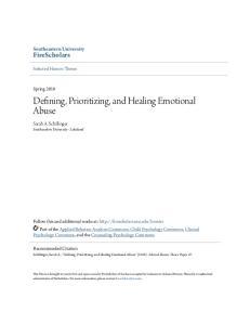 Defining, Prioritizing, and Healing Emotional Abuse